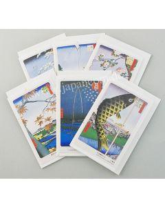 6 kleine Briefkarten Edo