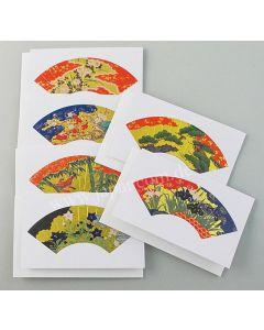 6 kleine Briefkarten Fächer Blumen Sensu S