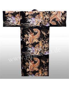 Japanischer Damen Kimono Drachen Tiger schwarz-braun, Rückseite
