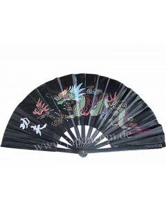 Tai Chi Fächer aus Kunststoff ´Drache Kungfu´ schwarz