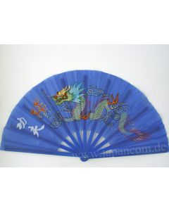 Tai Chi Fächer aus Kunststoff ´Drache Phoenix` blau