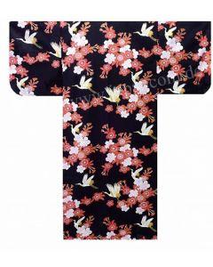 japanischer Kimono Kirschblüten & Kraniche schwarz