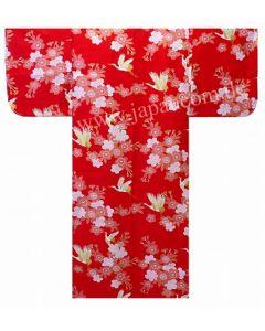 Kimono Kirschblüten & Kraniche rot Gr.S