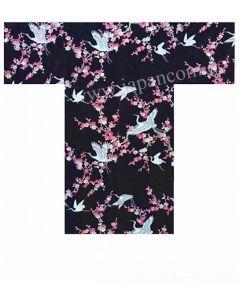 Seiden Happi Kimono Kirschblüten & Kraniche schwarz