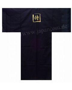 Japanischer Herren Kimono mit Stickerei Samurai, schwarz, Baumwolle, lang