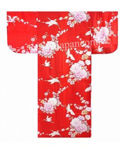 Seiden Kimono Royal Cranes rot