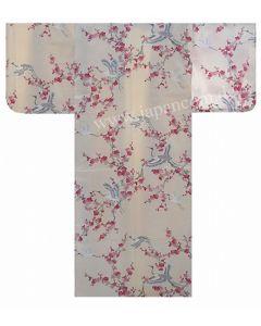 Seiden Kimono Kirschblüten & Kraniche perlweiss