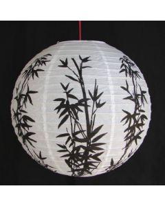 Papierlampe Bambus weiß rund