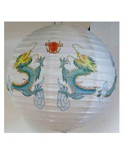 Papierlampenschirm Lampion Drache weiß rund