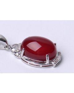 Silberkette mit rotem Calcedon Anhänger