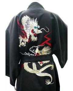 Japanischer Herren Kimono Drachen Tsumugi schwarz