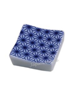 Essstäbchenbank Asanoha blau quadratisch