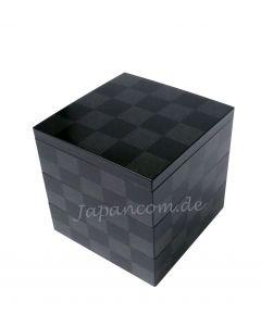 Etagendose Schachbrettmuster schwarz Lack