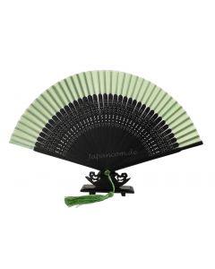 Fächer Sabi grün-schwarz Seide 21cm