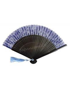 Fächer Shiroi Hana blau 1.