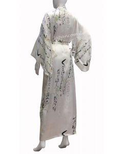 Japanischer Kimono Seide Fuji No Hana lang weiss