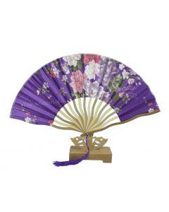 Gebogener Fächer Blumen violett 21cm