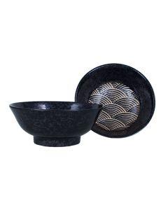Grosse Suppenschüssel Kuro Raku Seikaiha schwarz ø=21 cm