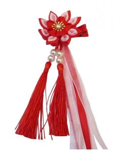 Haarklammer Kanzashi Blume 3-lagig rot
