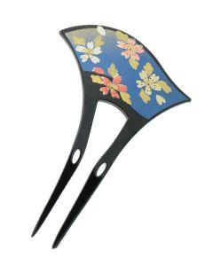 Haarnadel Kirschblüten Lack blau