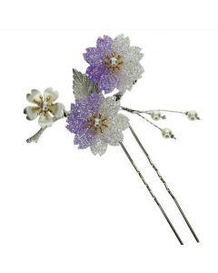 Haarnadel Sakura lila U-Form