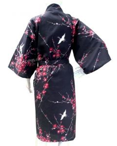 Happi Kimono Cherry Blossom schwarz kurz