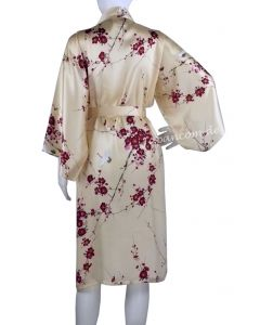 Kimono Cherry Blossom pfirsich, kurz, Seide, Morgenmantel