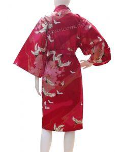 Happi Kimono Tsuru (Kranich) rot, kurz