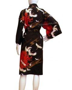 Happi Kimono Tsuru (Kranich) schwarz kurz