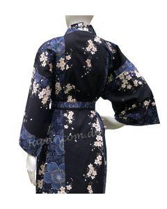 Kimono Sakura (Kirschblüte) blau, kurz