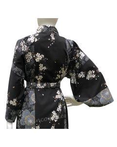 Kimono Sakura (Kirschblüte) schwarz, kurz