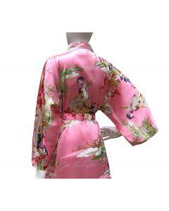 Seidenkimono Damen Ukiyoe pink