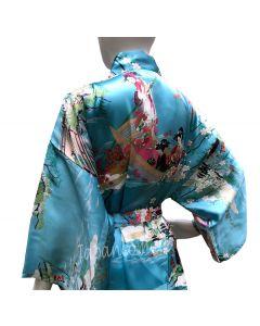 Seiden Damen Kimono Ukiyoe türkis kurz