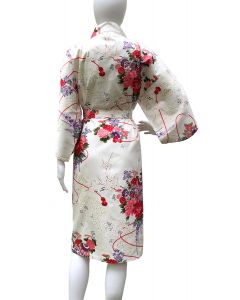 Kimono Damen Suzu Kirschblüten weiss kurz