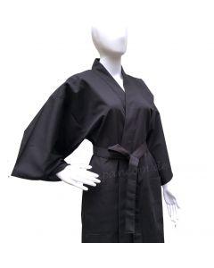 Kimono Bademantel Tsumugi Shinpuru schwarz kurz