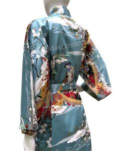 Happi Damen Kimono Ukiyoe türkis kurz