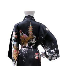 Damen Seidenkimono Hanami schwarz kurz