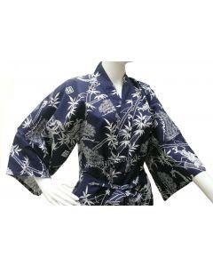 Japanischer kurzer Kimono Drachen blau, Yukata kurz