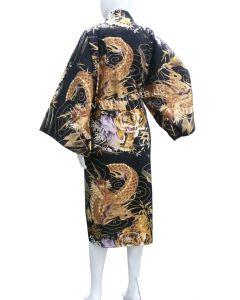 Japanischer Bademantel, kurzer Kimono Drachen Tiger schwarz XL