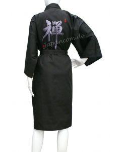 Japanischer Kimono Bademantel ZEN schwarz