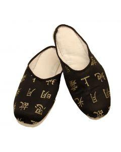 Hausschuhe Li Bai, schwarz-gold