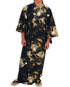 Herren Kimono Drachen Kiefer schwarz