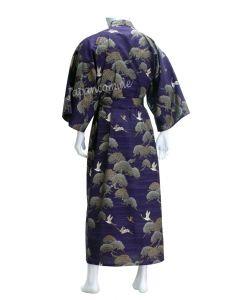 Herren Kimono Kraniche & Kiefern blau Gr. M
