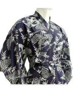 Herren Yukata Kimono Drachen blau