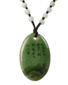 Mittellange Jade Kette mit Anhänger Lotus
