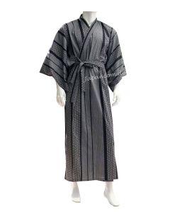Yukata Kimono Japanisches Muster 150 cm blauschwarz