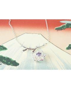 Silberkette Kirschblüte mit Zirkonia