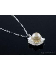 Silberkette mit Anhänger Lotusblume mit Perle