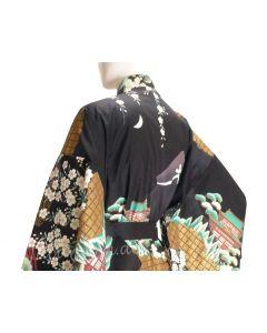Damen Kimono Daimonji schwarz aus Japan