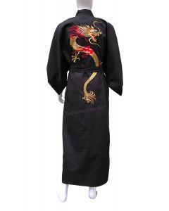 Herren Kimono Goldener Drachen Tsumugi schwarz
